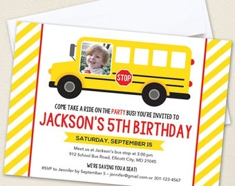 School Bus Party Photo Invitations - Professionally printed *or* DIY printable