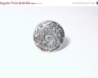 Sale Love Heart Ring Silver Rhinestone - Adjustable All One Size - Antique Victorian Edwardian Art Deco Nouveau Downton Abbey jewelry cheap
