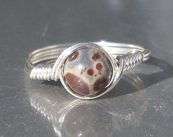 Orbicular Ocean Jasper Argentium Sterling Silver Wire Wrapped Ring Custom Sized