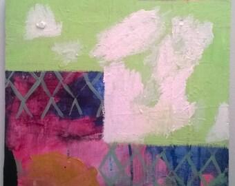 Abstract Art Original Painting Lime Green Sky Clouds by Rina Miriam Drescher