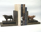 Stock Broker Wall Street Gift Bull and Bear Bookends Wood Book Ends Finance Financial Market Banker Organize Rustic Masculine Business Decor