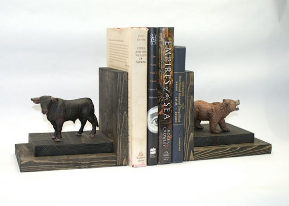 Bull And Bear Bookends Wood Wooden Book Ends By Eclecticforest