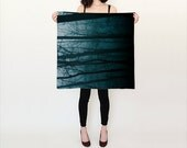 Silk Scarf - Blue Forest Trees - Tree Trunks - Teal Black - Nature Scarf - Square Scarf
