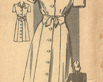 Marian Martin 9189 / Vintage Mail Order Sewing Pattern / 40s Dress / Bust 36