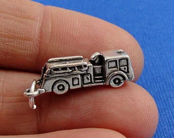 Fire Engine Charm - Sterling Silver Fire Engine Charm for Necklace or Bracelet