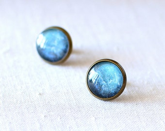 Blue Galaxy Earrings. Space Earrings. Universe Earrings. Glass Dome Earrings. Galaxy Stud Earrings. Space Post Earrings.
