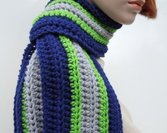 Football Team Inspired Sports Scarf, Blue Lime Green Lighter Gray Scarf, Sports Team Colors Scarf,  Crochet Scarf, Unisex Scarf