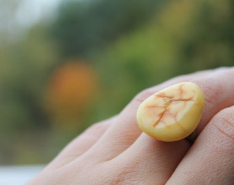 Amber Ring Adjustable Raw Yellow Amber Unique Jewelry Fossil Orange Ring Brass