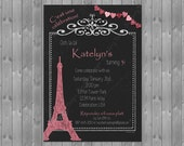 Paris Themed Birthday Invitaton, French Birthday Invite, Paris Invitation, French Party Invite, Paris Birthday Invitation, Printable Invite
