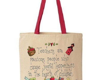 Teacher Tote Bag - Cotton Canvas Tote Bag - Teacher Bag - Teacher Appreciation - Gift For Teachers - Red