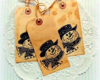 Coffee Stained Hang Tags / Frosty The Snowman / Daily Planner / Junk Journal