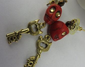 Red Stone Skull Earrings Glowing Eyes Devil Horn Tail Keys Boho Free Shipping