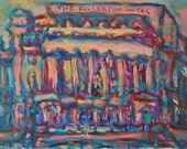 Timeless - Singapore Painting, Fullerton Hotel, Original Art, Impressionist, Whimsical, Pink Art, Oil Painting, Architectural Art, Buildings