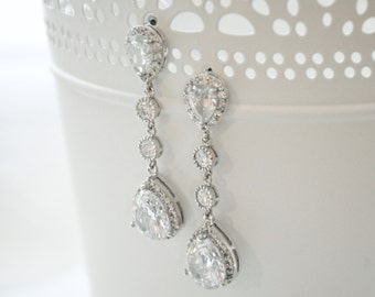 Statement Bridal Earrings, Teardrop Earrings Bridal. Wedding Earrings