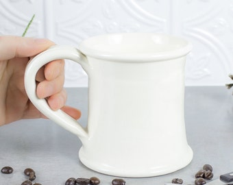 Ceramic White coffee mug wheel thrown pottery unique mug Cup 18-20 oz Ceramic Tea Home decor Gift, Hand Made Large Beer Stein