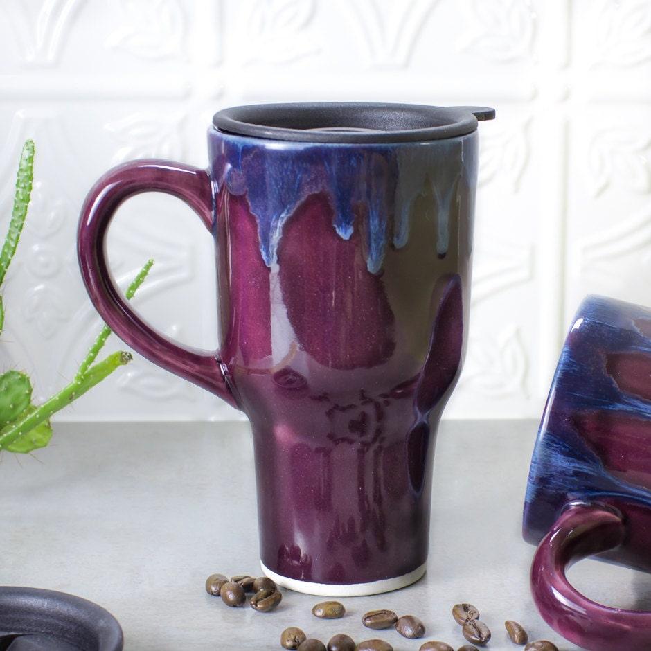 Coffee Travel mug with handle Eggplant Purple