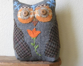 Tulip Owl Plush- Upcycled Recycled Felted Wool Sweater- Owl Decor Pillow- Owl With Flower!