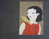 Postcard, Portrait of a Girl with Bird No. 2