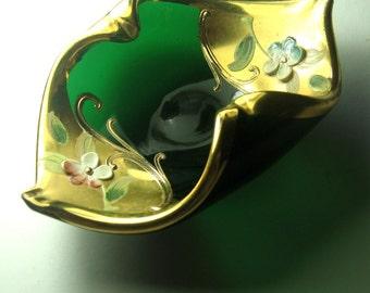 Bohemian Glass Trinket Dish, Czech Glass Ring Dish, Emerald Green Glass Ring Keeper, Hand Painted Green Glass Czech Open Salt Dish