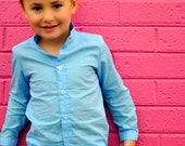 RESERVED boys shirt  baby blue tunic long sleeve