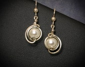 White Pearl Sterling Silver Earrings, Asymmetrical Pearl Wire Wrapped Jewelry