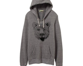 Bear Face Hoodie - Grizzly - Black Bear -  Bear illustration - Grey Pullover Bear Hoodie - Unisex - Small, Medium, Large, Extra Large