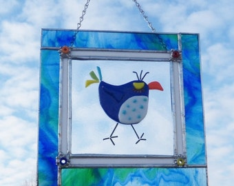 BLue Bird of Happiness Stained GLass Panel // Fused GLass Center Panel // Fused Glass Bird // Wacky // Attitude // Cheerful// Colorful// Fun