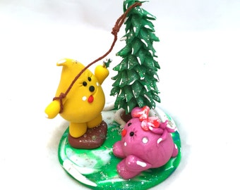 Christmas Tree Star Parker & Lolly Figurine - StoryBook Scene Polymer Clay Sculpture