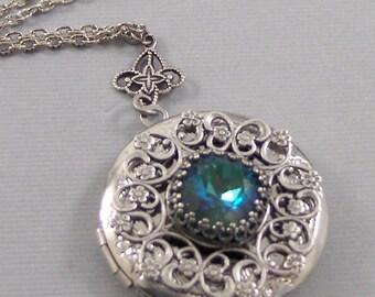 Mermaids Star,Sapphire Necklace,Sapphire Locket,Emerald,Emerald Locket,Princess Cut.September Birthstone,BirthsotoneValleygirldesigns.