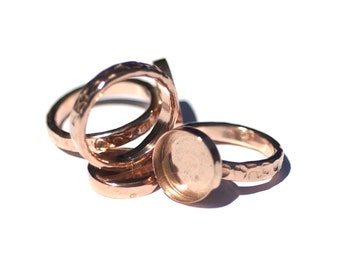 Copper Bezel Cup Ring Hammered for Resin Gluing or Setting - Size 6