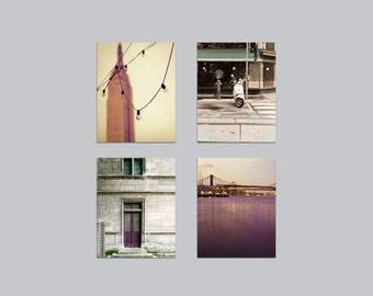 SALE, 4 Photo Set, Travel, Wall Decor, Neutral, Gold, Purple, Green, Beige, Set of 4 Prints, New York City & Paris