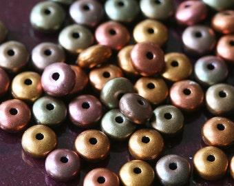 4mm Rondelle Spacer Beads - Jewelry Making Supplies - Saucer Beads - Metallic Bronze Iris Matte Saucer Beads  (100 beads)