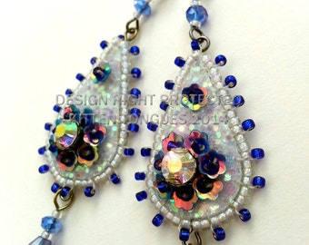 Indigo and White Sparkling Beaded and Sequined Glitter Earrings