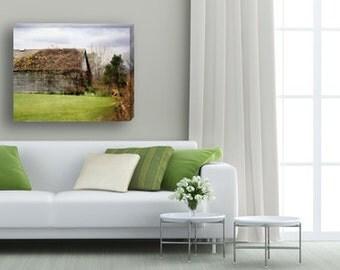 Rustic Barn Canvas Gallery Wrap, Gray Barn Canvas Art, Old Rustic Barn, Large Canvas Art, Farmhouse Decor, Country Home Decor, green 8x10
