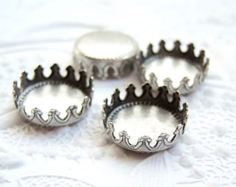 4 - Antiqued silver plated brass 13mm crown edge settings - GR101