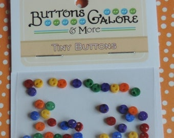 Primary Tiny Micro Buttons, Packaged Assortment by Buttons Galore, Style #1805, 2 Hole, Teeny Tiny Buttons, Sewing, Crafting, Embellishments