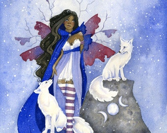 Fairy Art Print - Arctic Fox Friends - fantasy. animal. winter. snow. whimsical. fairy tale. watercolor