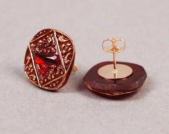 Christmas Earrings - Red Glass Earrings - Post Earrings - Gold Earrings - Glass Earrings