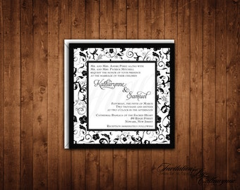 Damask Wedding Invitations, Black and White Damask Wedding Invitations, Winter Wedding, Black Tie Invitation, Vintage Invitation
