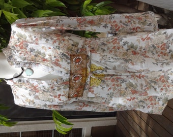 Floral Hippie Hippy Gypsy Soul Embellished Camisole Long Sleeves Empire Waist size XSmall/Small