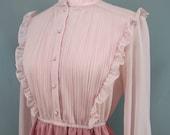Vintage Two Tone Pink Ruffle and Pleated Secretary Dress Size Medium