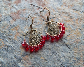Wire wrapped hoop earrings, small beaded hoops, red crystal, bohemian jewelry ,indie style, lightweight, colorful earrings