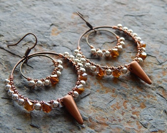 Wire wrapped hoop earrings, czech glass spikes, edgy indie style, copper and silve,r beaded hoop statement earrings