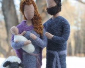 Nativity Set- Needle Felted Mary, Joseph, Jesus and Sheep/ Red-haired Mary