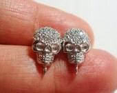 Custom make, 925 Sterling Silver Lovely Skulls Ear Post with crystal quartz drop