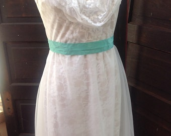 Sample sale ! White cowl front and back sheer over lace dress with nude slip