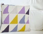 Kid's Throw Pillow Cover - Geometric Polar Bears in Purple, Lilac + Yellow on Natural