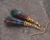 Earrings Mosaic Agate Jewel Tone Teardrop Dangle Gold Earrings
