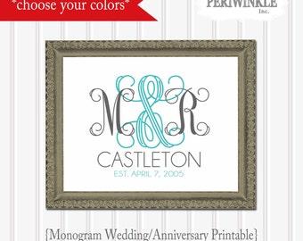 Wedding/Anniversary Monogram Printable Multiple Sizes-Customize your colors