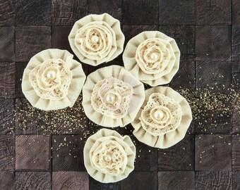 "NEW: Prima Capri ""Chardonnay"" 578183 Neutral Burlap Fabric Flowers. Hair Accessories, Fascinator or Hat Design Appliques."
